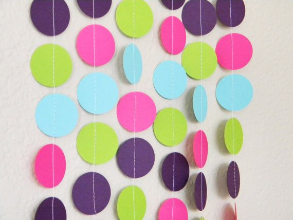 Purple Aqua Hot Pink Lime Party Decoration Paper, Dorm Room, Birthday,Nursery,  Baby Or Bridal Shower 10 Feet Part 68