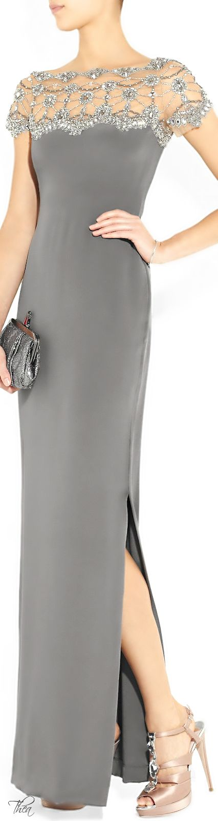 MARCHESA ● Crystal and bead-embellished silk-crepe gown.