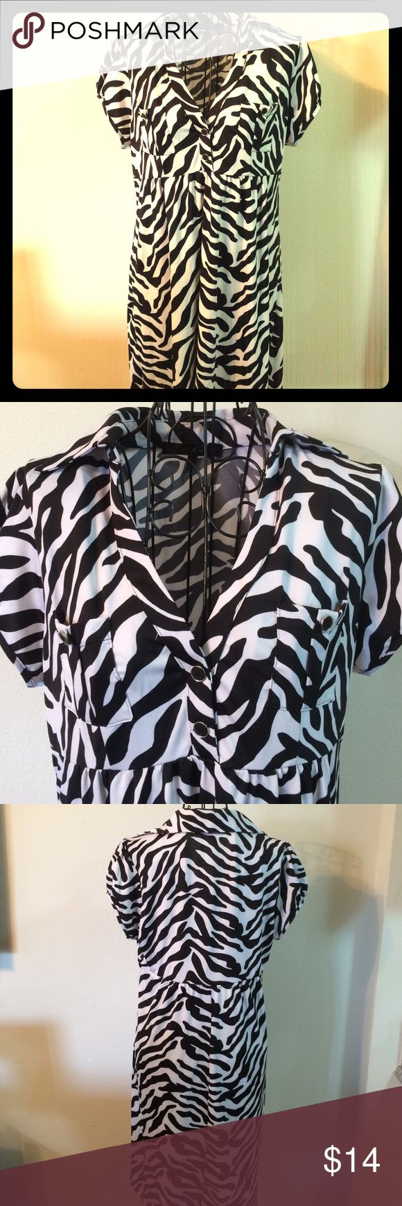 Fun Zebra Print Dress This great zebra print dress has a great neckline, great buttons and is a flattering cut. Polyester with a little spandex so it's shiny, a little stretchy and flowing. New but no tag. Heart & Soul Dresses