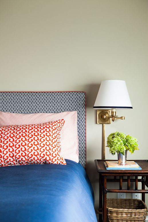 Cherry Street Project: Custom bed upholstered in China Seas print, pillow in Seema Krish fabric, bedside tables by Pottery Barn, sconces by Circa Lighting