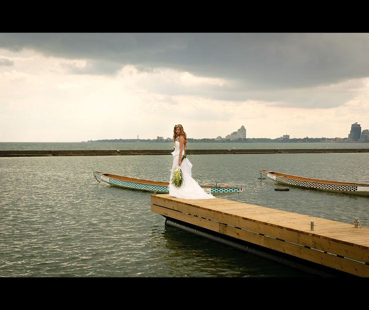 Wedding dress by the lake.