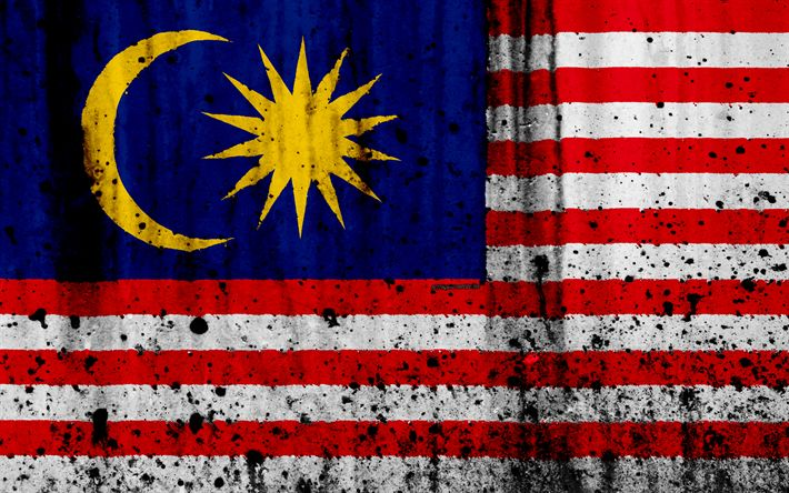 Download wallpapers Malaysian flag, 4k, grunge, flag of Malaysia, Asia, Malaysia, national symbols, Malaysia national flag