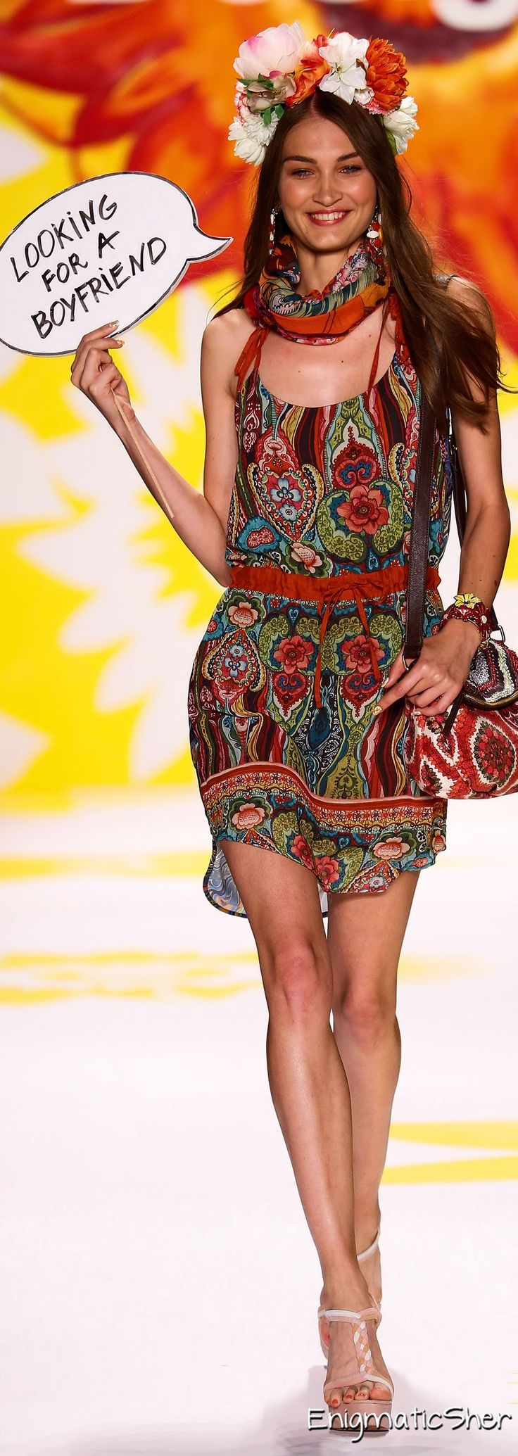 Desigual Spring Summer 2015 Ready-To-Wear. This is cute even with the flower crown thing. The sign is cute, too! Lol ha ha ;)