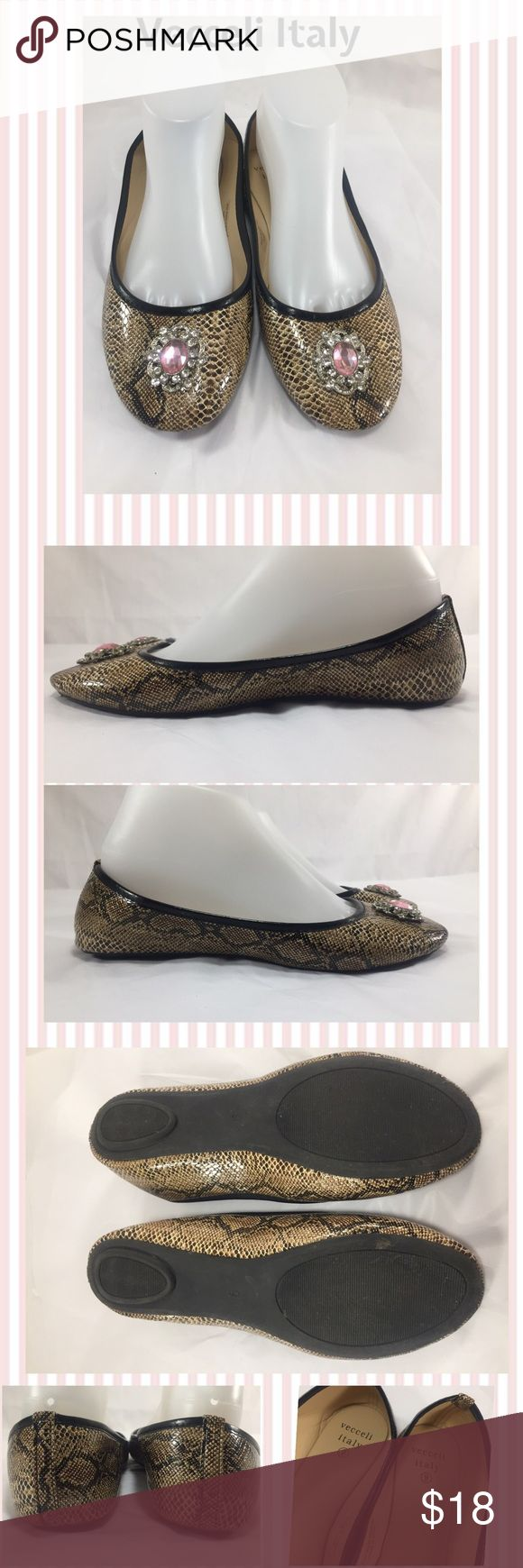 Vecceli Italy Jeweled Animal Print Slippers Vecceli Italy Man-made Animal Print Ballet Slippers with Jewel Detail. Ladies size 9. These shoes run wide even though it is not in their size title. Nice pre-owned condition. Orig.$55.00 Vecceli Italy Shoes Slippers