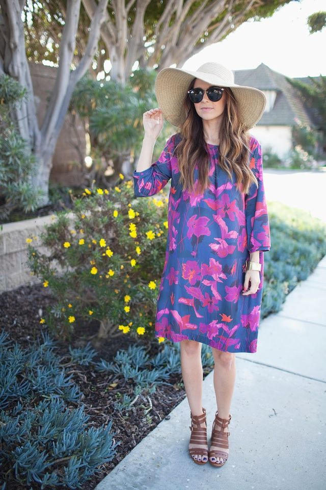 OUTFIT DETAILS: dress: made by me, fabric designed by me, printed by spoonflower || BCBG block heels via DSW || similar straw hat || karen walker sunglasses via dittos eyewear, c/o PHOTOGRAPHY BY SARA