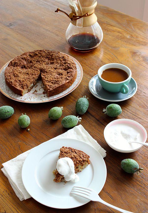 fejoa cake with coffee
