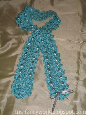 My Fancywork Blog: Бирюзовый шарфик связанный крючком с ленточным дек...