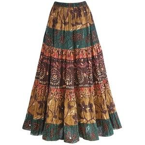 Women's Tribal Tiered Long Cotton Peasant Skirt