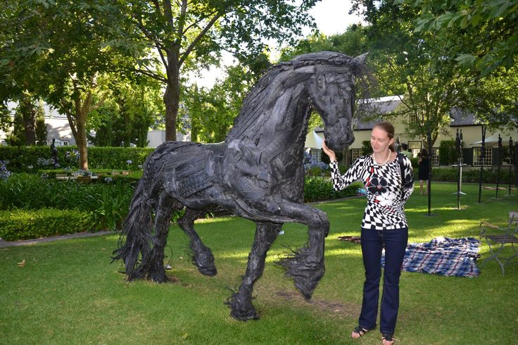 Amazing work of art from recycling old tyres — at The Grand Provence Wine Estate, Franschhoek.