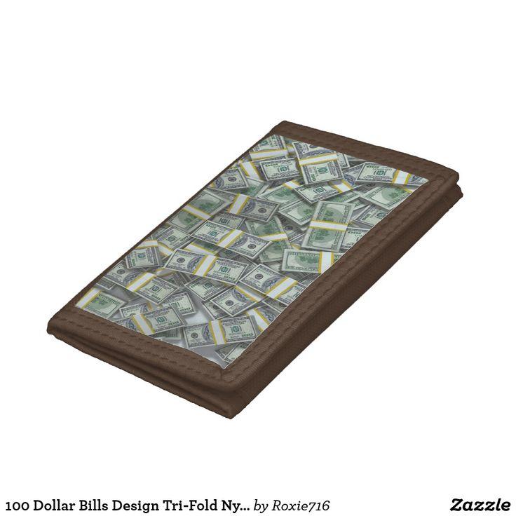 100 Dollar Bills Design Tri-Fold Nylon Wallet | Zazzle.com
