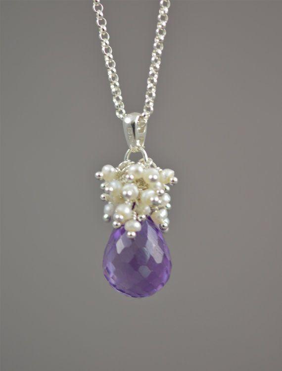 Purple Bridal Necklace, Amethyst Wedding Jewelry by BlueRoomGems, $124.00