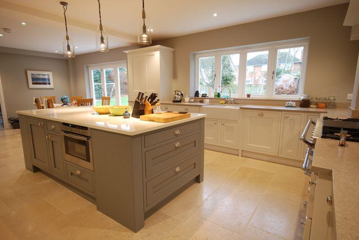 Iona In-Frame Painted kitchen in White Cotton & Graphite with Shitake & Perlino Caeserstone Quartz Worktops. Designed & Installed by Saffron Interiors - 01483 511068 / sales@saffroninteriors.co.uk #inframe #kitchen #white #coton #grey #graphite #quartz #perlino #shitake #shaker #butler #belfast #range # mantle