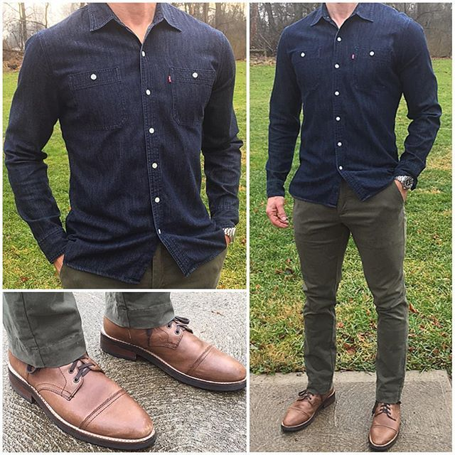 Casual Day Off  A dark denim shirt is an essential piece I'd recommend for any guy. It's a versatile shirt that you can wear a bunch of different ways. Today I paired mine with olive chinos, tan boots, and kept it untucked since I had the day off.   Do you like this look❓  Boots: @thursdayboots  Chinos: @jachsny  Watch: @crownandcaliber  Shirt: @levis