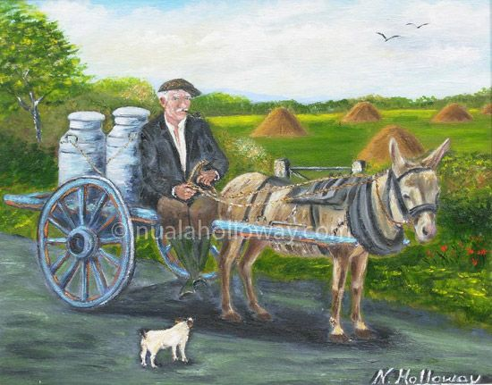"""""""The Old Way Home"""" by Nuala Holloway ~ Oil on Board www.nualaholloway.com #Artist #Ireland #Rural #Countryside"""