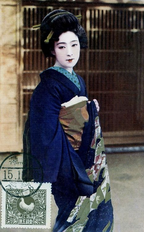Actress dressed as Geisha - Hand coloured postcard - 1920s