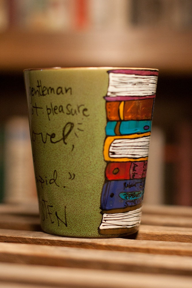 """Jane Austen """"Intolerably stupid"""" Literary Quote Mug - Hand painted medium-small rustic moss colored mug with book stack design. $15.00, via Etsy."""
