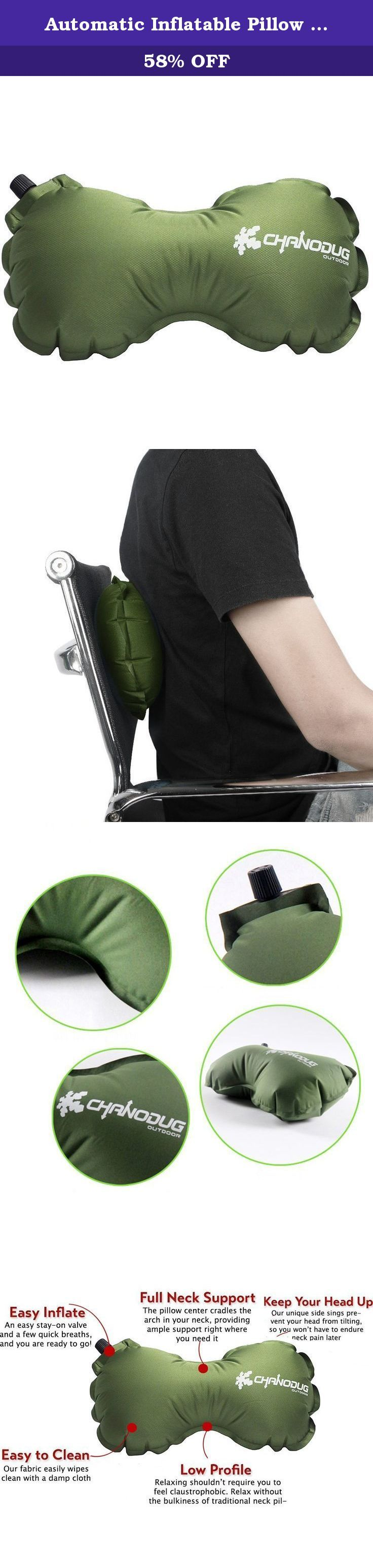 Automatic Inflatable Pillow for or Car, Airplane or Lumbar Support,3colors, Neck and Back Pillow NOTE: some of the products are green in front and black in back.(Green). The self-inflating neck and back pillow is ideal for long-distance travel, with a unique bow-tie shape that's comfortable for your neck and back. Specification : Color: Green/ Grey /Light green External material: 75D polyester pongee. Internal material: High resilient sponge. Gas nozzle material: Plastic. Full Inflated...