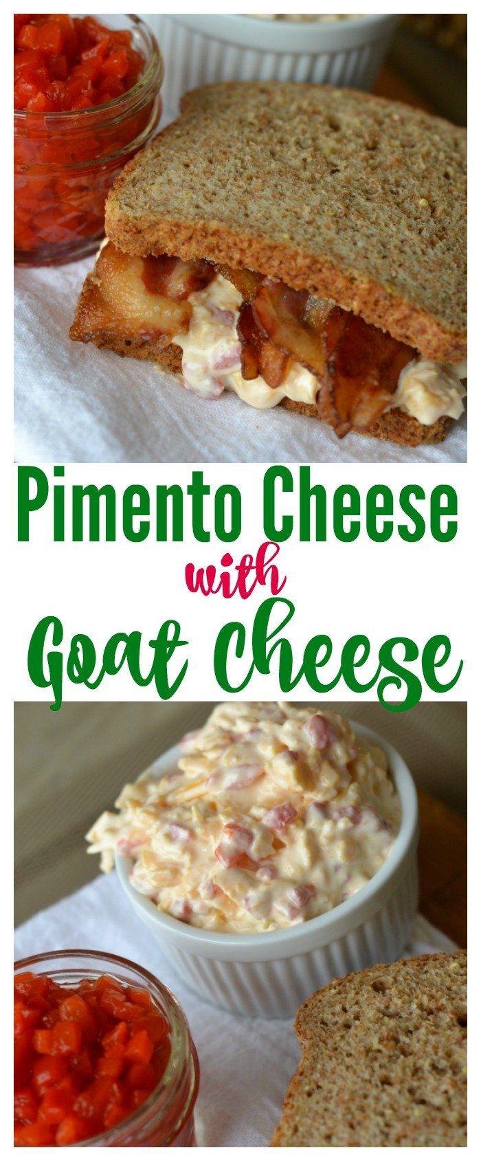 Pimento Cheese with goat cheese is a yummy creamy pimento cheese recipe. This recipe can be served as a pimento cheese sandwich or a pimento cheese spread on crackers.