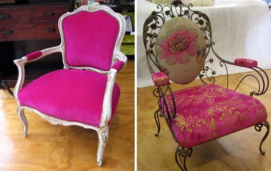 Ornately detailed chairs, magenta - Living Room, Wellington