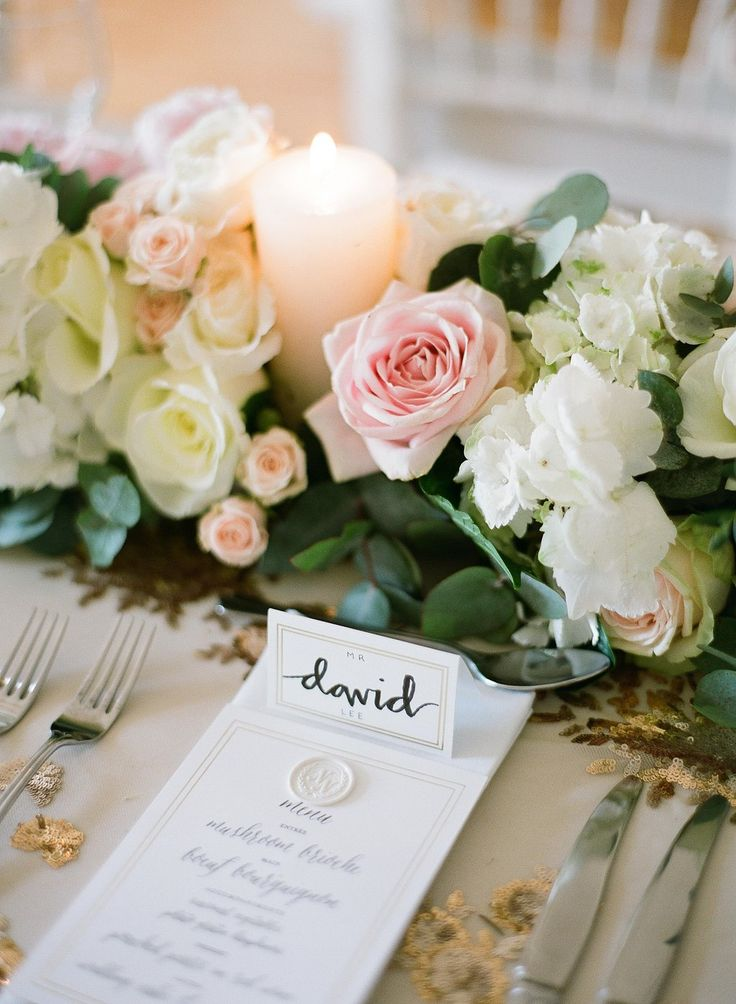 Peony, hydrangea, rose and eucalyptus table runner by Le Coeur Sauvage. Greg Finck photography
