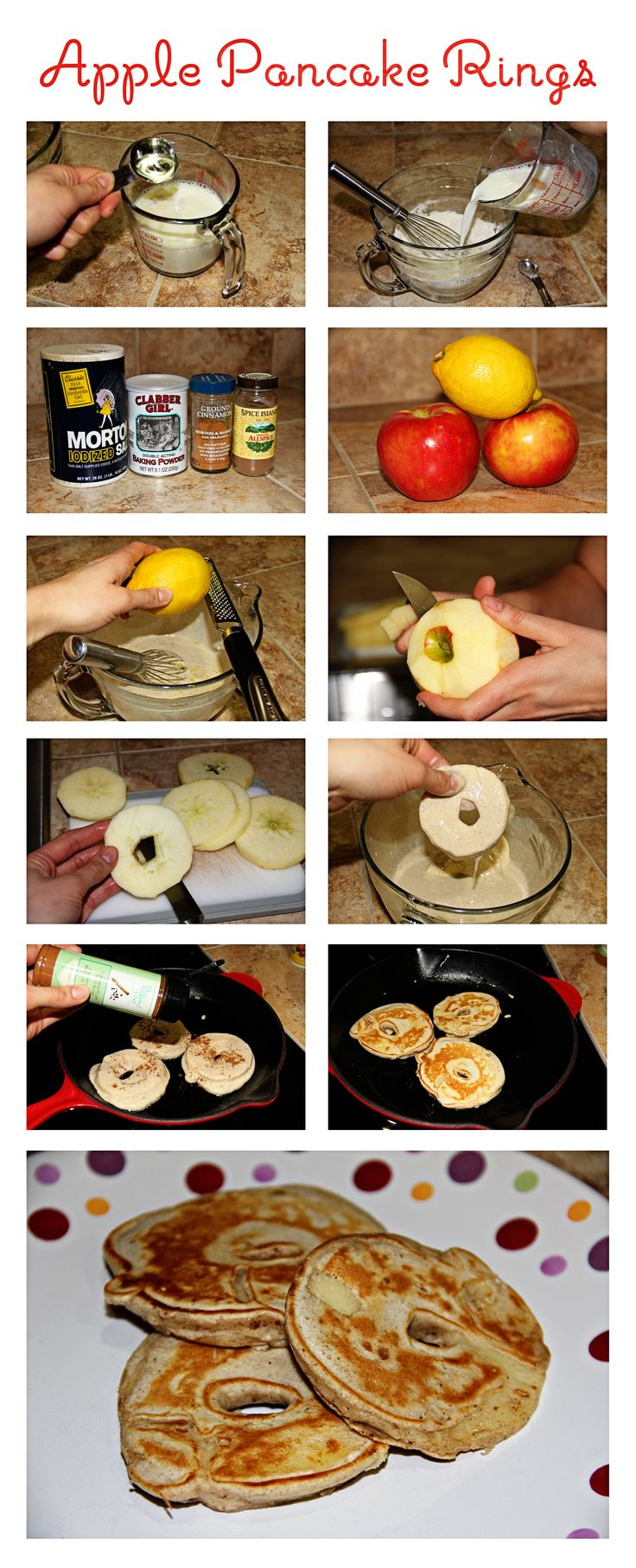 Apple Pancake Rings! So good and pretty simple to make! Click on photo to see the recipe I was inspired by. I used my own scratch pancake mix. Photos by ♥Lara Croft