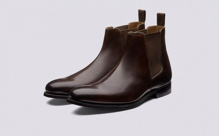 Declan | Mens Chelsea Boot in Dark Brown Hand Painted Calf Leather with a Leather Sole | Grenson Shoes - Three Quarter View