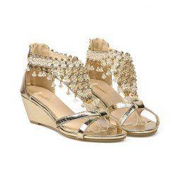 Ethnic Style Beading and Zip Design Women's Sandals