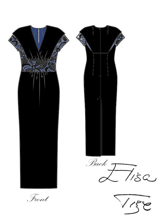 Subject: long dress Color: black (with blue details) Line: straight Neckline: V Hope you like it!