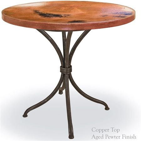 This Italia Bistro Table features a clean wrought iron table base available in 4 finishes and your choice of 36in diameter copper or marble top.