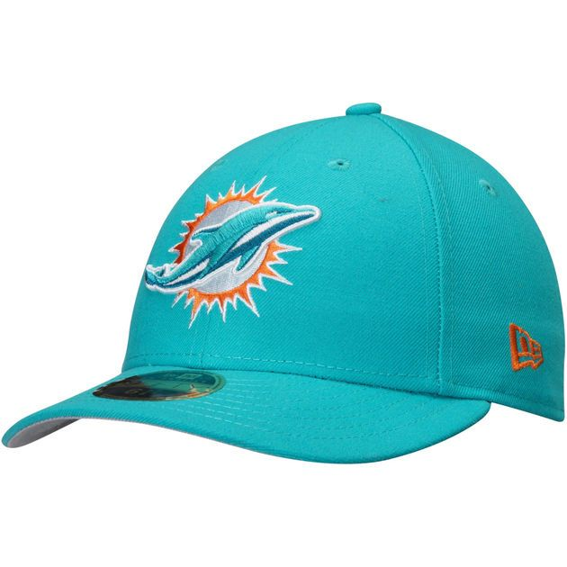 Men's New Era Aqua Miami Dolphins Omaha Low Profile 59FIFTY Structured Hat