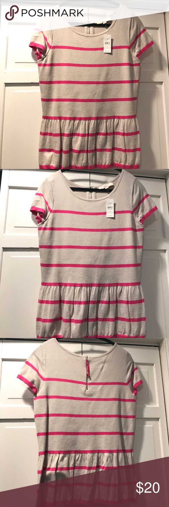 LOFT top Cream short sleeve top with pink stripes, NWT, never worn! LOFT Tops Tees - Short Sleeve