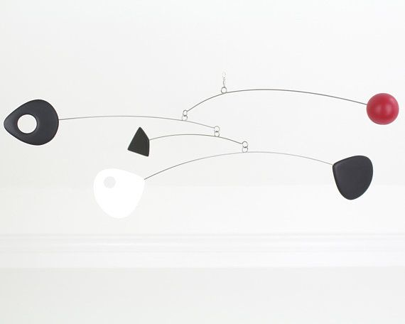Kinetic Mobile Black White Red Mobile Hanging Mobile Mid Etsy Hanging Mobile Mobile Art Mobile Sculpture