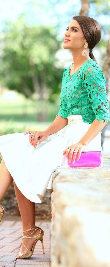 Amanda Brasil Green Crochet Lace Top