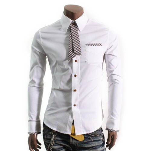 Doublju Mens Casual Dress Shirts with Tie(HAS)