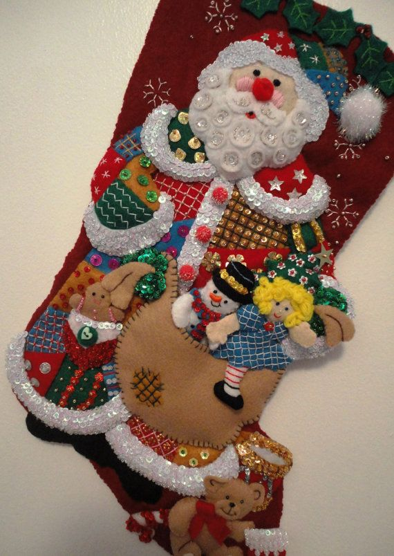 Bucilla Stocking Beaded Sequins on Felt by TheMuseConnection, $100.00