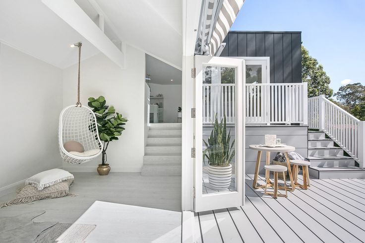 Hanging Chair | Byron Bay Hanging Chairs Fig | Oz Design Furniture Floor Pillows | Losari                                                                                                Floors |Belle Laminate in Alpine Oak Ice Grey Godfrey Hirst Coffee Table & Chairs | Freedom Striped Pot | Design Twins Deck | HardieDeck
