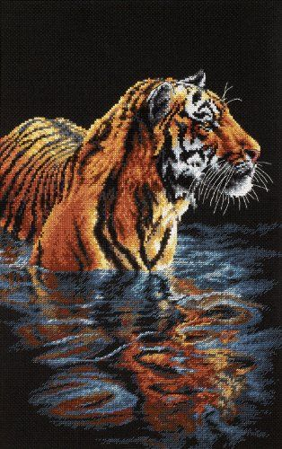 Kit contains cotton thread  and  thread sorter 18 ct. black Aida cloth Needle Instructions Finished Size: 9inchesx14inches A magnificent tiger takes a dip in the water on a hot, tropical day. Stitched