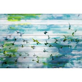 Marsh Graphic Art on White Pine Wood