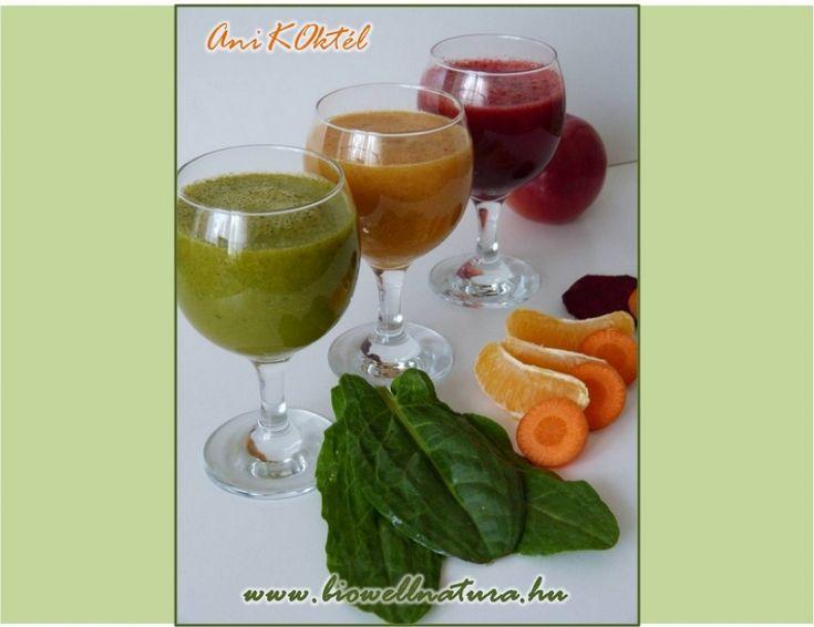 Nyers zöldség és gyümölcskoktélok