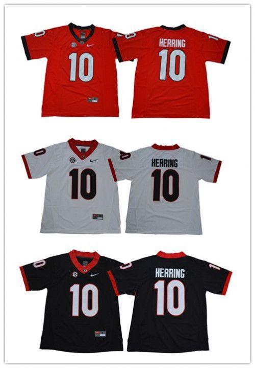 12b171ea5 Men s Georgia Bulldogs  10 Malik Herring Football Jersey