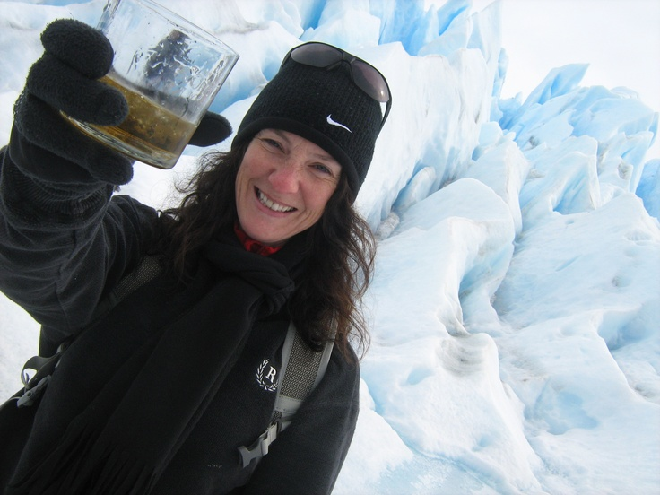 Enjoying a drink after #trekking on a #glacier in #Argentina.