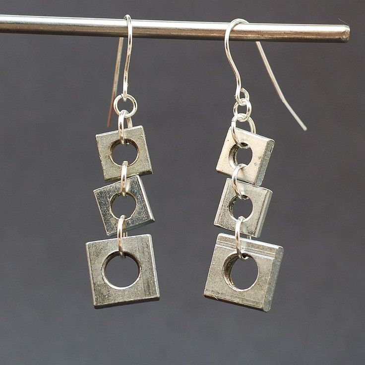 Salvaged Hardware Earrings- Silver Geometric Square Found Object Jewelry
