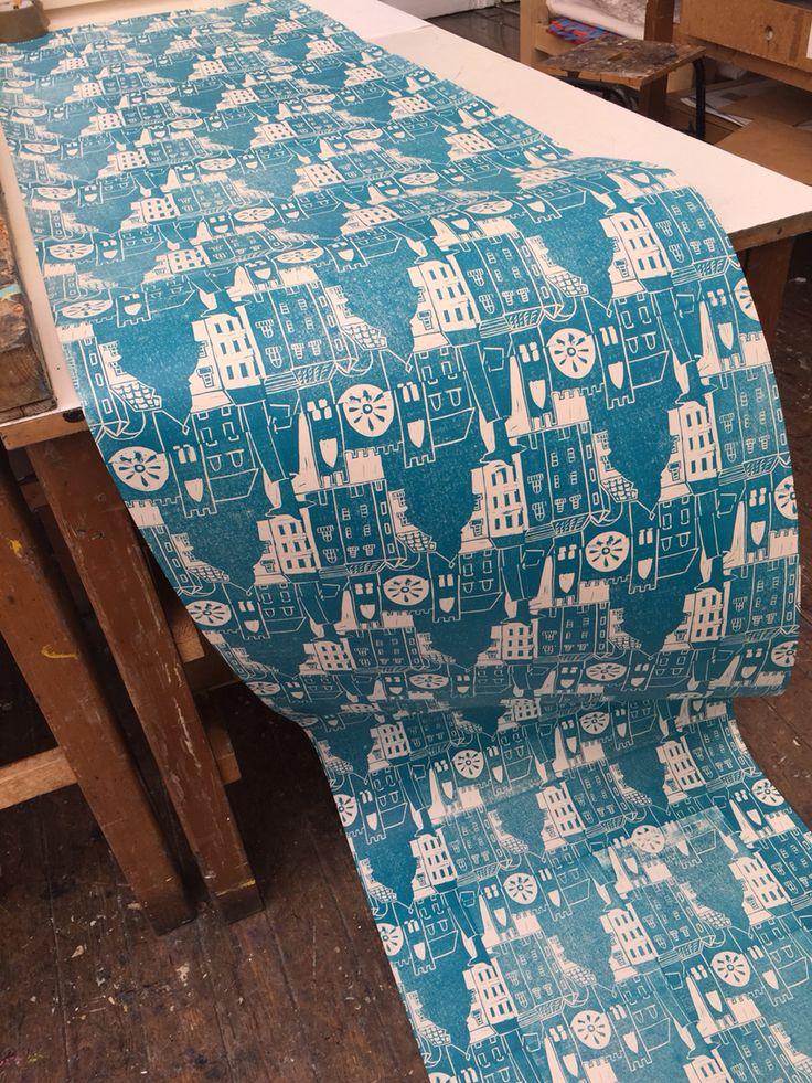 Lisbon inspired lino print -jess saint
