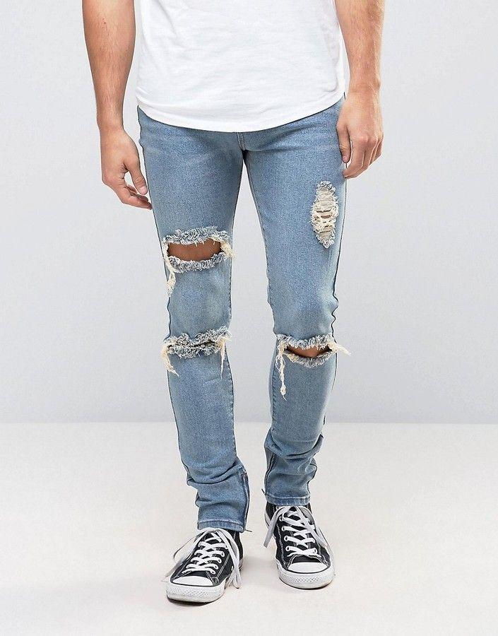 Liquor & Poker Skinny Jeans Ripped Ankle Zip
