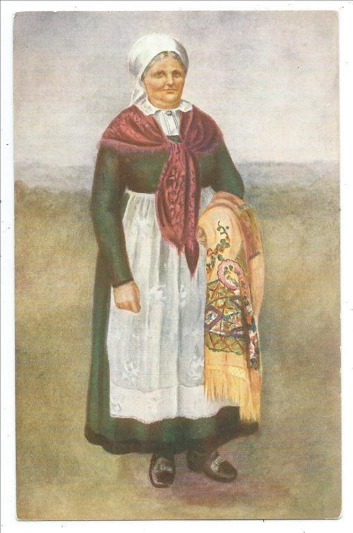 Folkdräkt kvinna från Luggude Äldre tecknat vykort Skåne Malmöhus län KV 7 8
