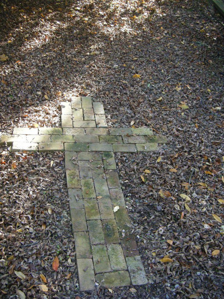 Center of prayer garden with repurposed bricks