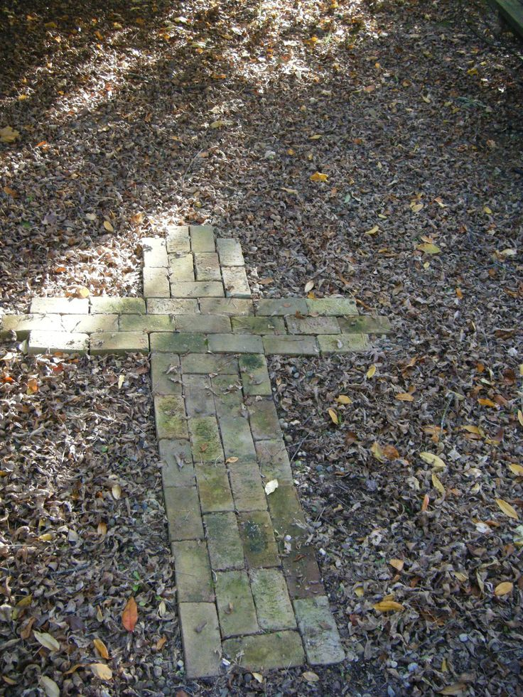 Center of prayer garden with repurposed bricks