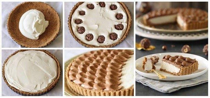 Hozzávalók Tészta 150 g keksz 4 db Ferrero Rocher 50 g vaj, olvasztva (ha szükséges +20 g) Töltelék 225 g krémsajt 50 g cukor 1 cs vaníliás cukor...