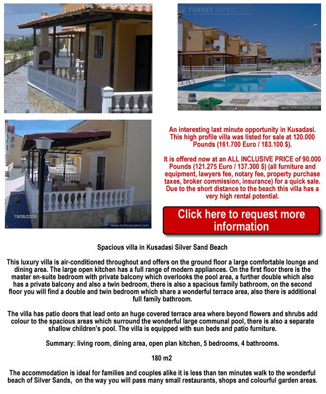 Bargain villa for sale in Kusadasi with 5 bedrooms and 4 bathrooms 750 meters from the beach