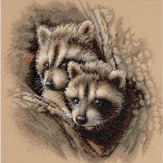 Two Raccoon Cubs. Counted Cross Stitch by Dimensions Needlecrafts.
